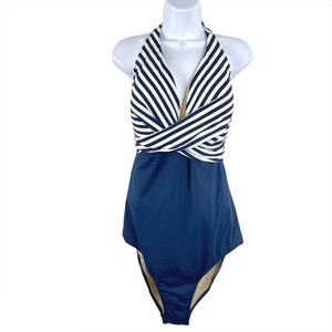 Swimsuits For All One Piece Blue White Striped NWT